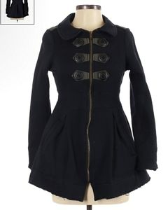 KNITTED DOVE Black Front Closure Coat small